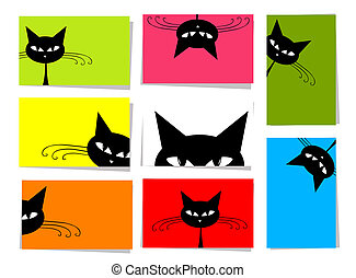 10, set, divertente, testo, gatti, disegno, cartelle, posto,...