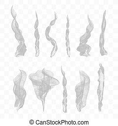 10, set, fondo, vettore, fumo, trasparente
