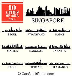 10, set, illustrazione, vettore, asiatico, città