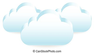10, shapes., eps, chevaucher, clouds., vector., nuage, 3d
