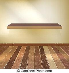 10, shelf., eps, drewno, wewnętrzny, opróżniać
