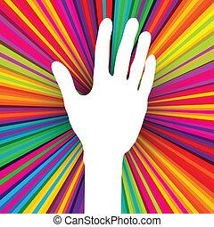 10, silhouette, coloré, résumé, eps, main, arrière-plan., vecteur, psychédélique