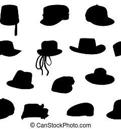 10, silueta, illustration., pattern., seamless, cobrança, eps, carteiras, vetorial