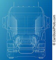 10, sketch., entulho, formato, semi-reboque, traçado, eps, ilustração, vetorial, caminhão, eurotrucks, vehicle., 3d.