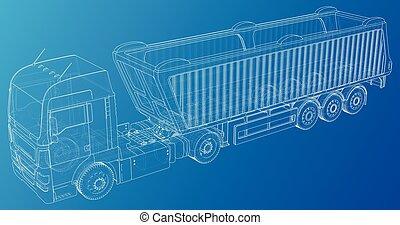 10, sketch., entulho, semi-reboque, traçado, format., eps, ilustração, vetorial, caminhão, eurotrucks, vehicle., 3d.