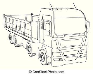 10, sketch., entulho, traçado, isolado, ilustração, eps, experiência., caminhão, branca, 3d.