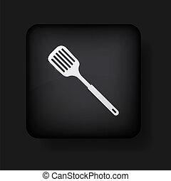 10, slotted, ícone, eps, colher, vetorial, black., cozinha