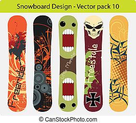 10, snowboard, design, satz