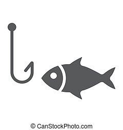 10., sous-marin, solide, modèle, eps, signe, crochet, vecteur, peche, animal, graphiques, icône, fond blanc, glyph