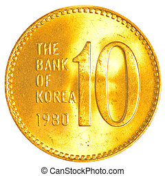10 south korean won coin isolated on white background