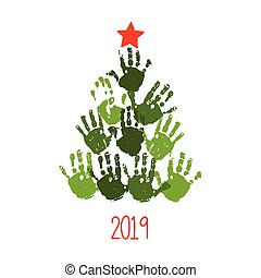 10, star., 나무, 고립된, 삽화, handprint, eps, 벡터, 그어진, 백색, 손, 크리스마스 카드, design.