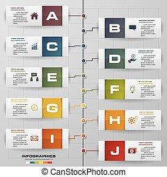 10 steps timeline infographic for business design. EPS10.