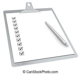 10, stylo, presse-papiers, x, liste contrôle