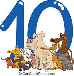 10, szám, tíz, kutyák