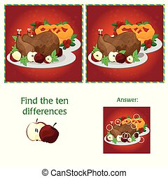 10, tarefa, diferenças, -, visual, jogo, children., achar