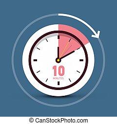 10 Ten Minutes Time Symbol. Vector Clock Icon.