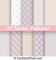Tender loving wedding vector seamless patterns (tiling).