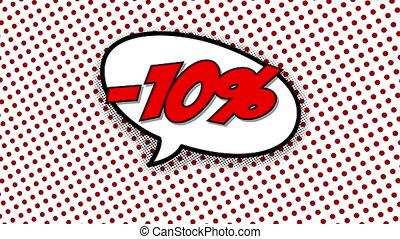 10, text, balloon, prozent, rabatt, vortrag halten