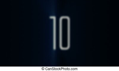10 to 1 Countdown with Blue Light R - Counting down from ten...