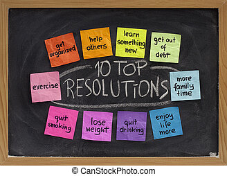 10 top new year resolutions - colorful sticky notes on blakboard with white chalk texture