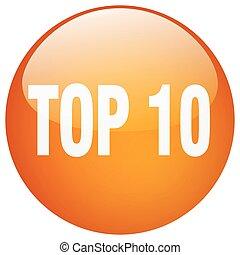 10, topp, isolerat, runda, apelsin, tryckknapp, gel