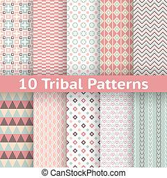 10, tribal, seamless, texture, motifs, vecteur, (tiling)., interminable