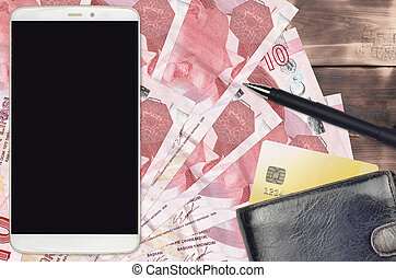 10 Turkish liras bills and smartphone with purse and credit card. E-payments or e-commerce concept. Online shopping and business with portable devices usage