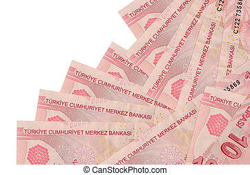 10 Turkish liras bills lies in different order isolated on white. Local banking or money making concept. Business background banner