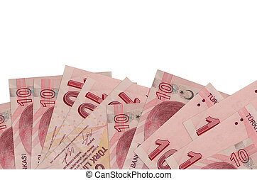 10 Turkish liras bills lies on bottom side of screen isolated on white background with copy space. Background banner template for business concepts with money