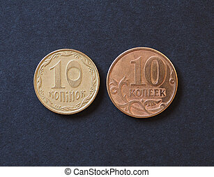 10 Ukrainian hryvnia and 10 Russian rubles kopecks coins