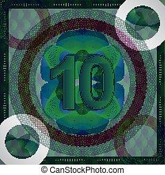 10, vecteur, billet banque, (ten), nombre, illustration, monétaire, guilloche, fond, orné, style.