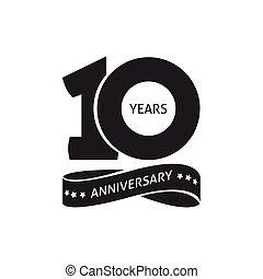 10, vecteur, pictogramme, 10ème, anniversaire, années, anniversaire, année, icône, logo, étiquette