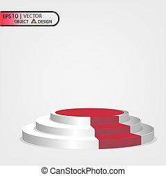 10., vectors, eps, ilustração, pódio, multilevel, fundo, branca, path., transparente, vermelho