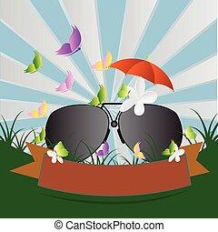 10, vektor, solglasögon, illustration., eps