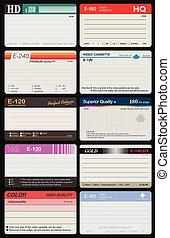 Vector illustration of ten differents VHS labels