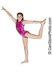 10, viejo, gimnasia, año, niña, posturas