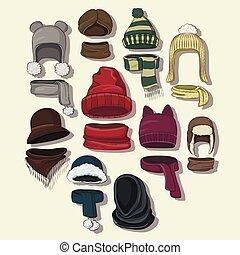 10, vinter, illustration, collection., headwear, eps, höst, vektor, eller