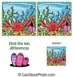10, visuel, différences, jeu, trouver