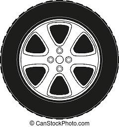 10, wheel., car, eps, ilustração, vetorial