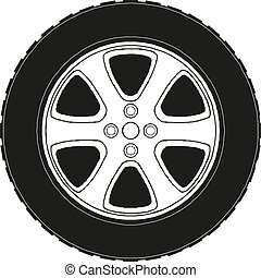 10, wheel., voiture, eps, illustration, vecteur