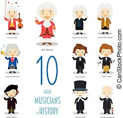 10, wielki, dzieciaki, komplet, style., wektor, litery, muzycy, historia, rysunek, collection: