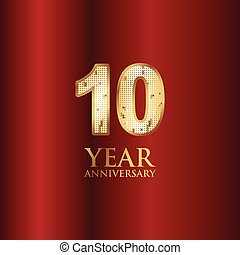 10 Year Anniversary Gold With Red Background Vector Template Design Illustration