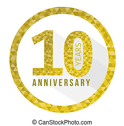 10 year anniversary triangle shape sign pattern
