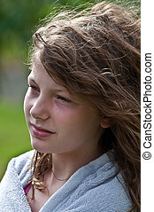 10 Year Old Girl Portrait Wistful - This closeup of a...