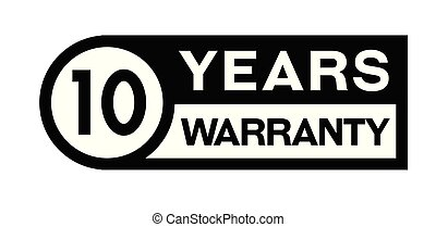 10 year warranty stamp on white