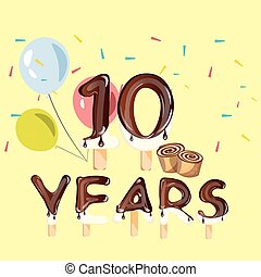 10 Years Anniversary celebration logo, birthday