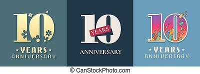 10 years anniversary celebration set of vector icon, logo