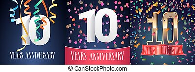 10 years anniversary celebration set of vector icons