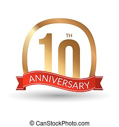 10 years anniversary experience gold label with blue ribbon, vector illustration