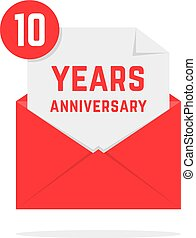 10 years anniversary icon in red letter